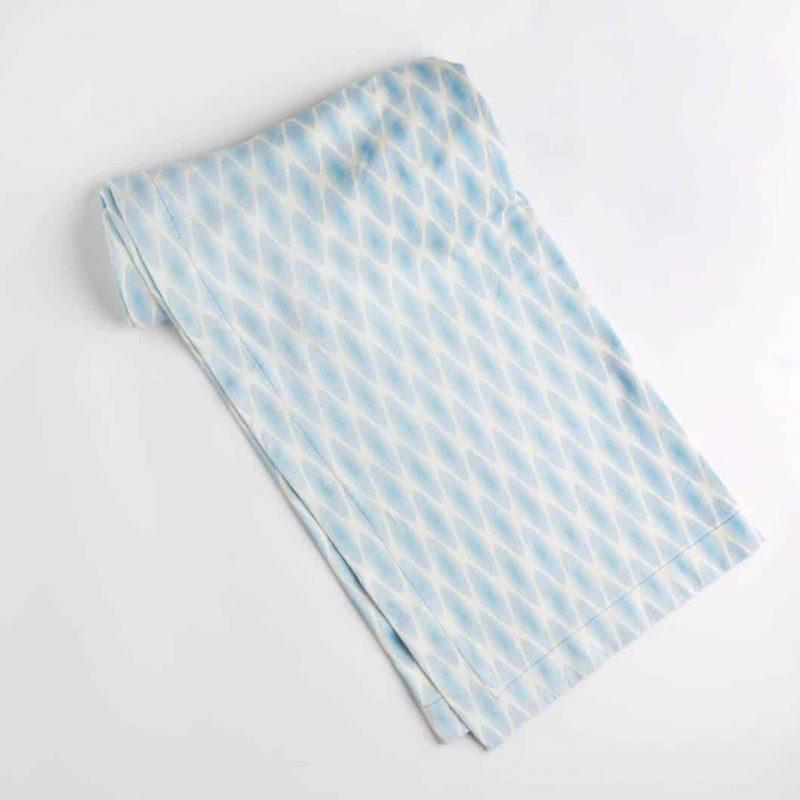 Luxury organic periwinkle diamond lattice knit throw