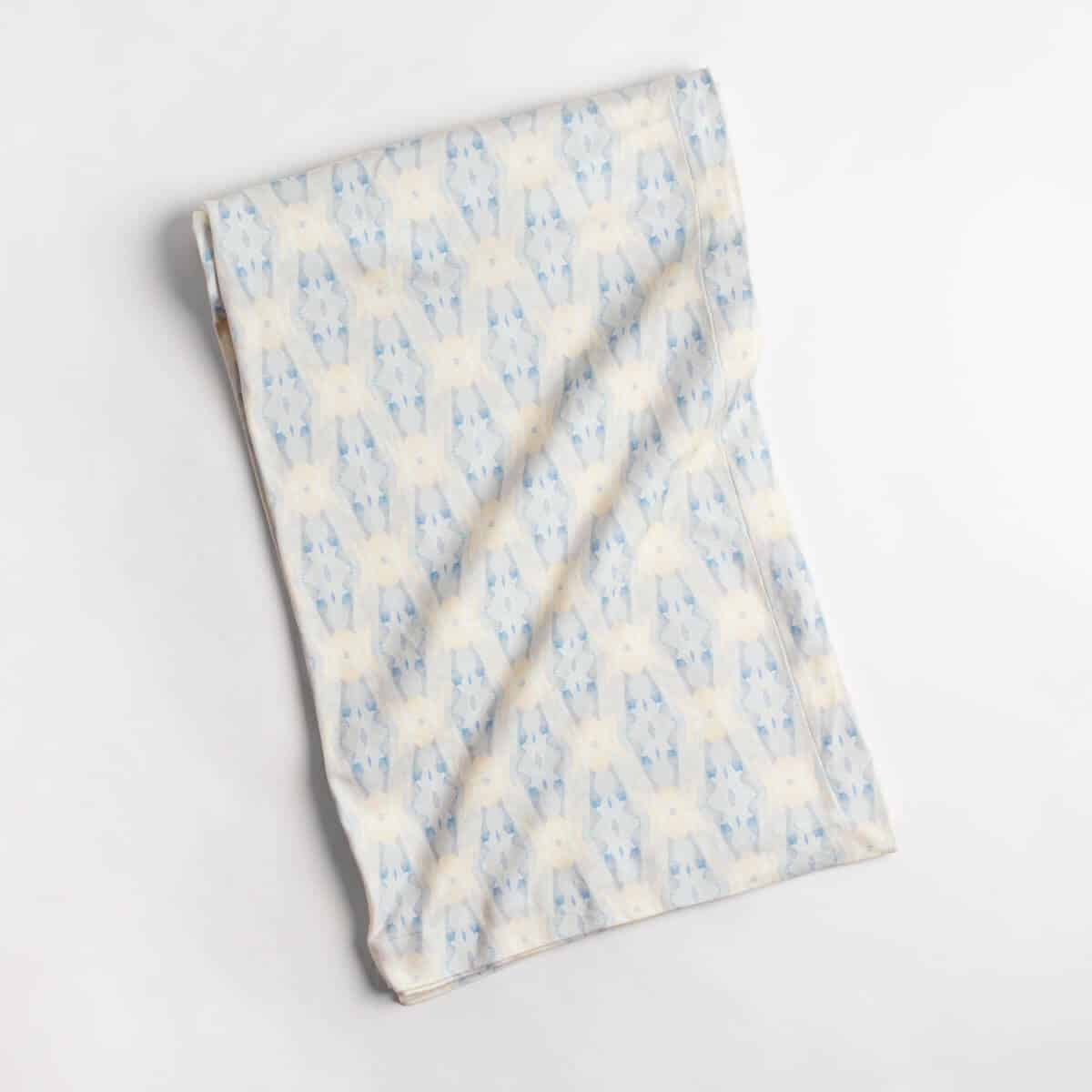 Luxury organic periwinkle blue diamond knit throw