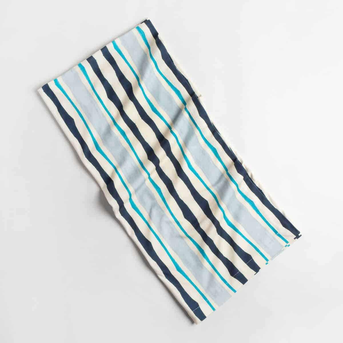 Luxury organic navy and blue mirrored watercolor stripe knit throw