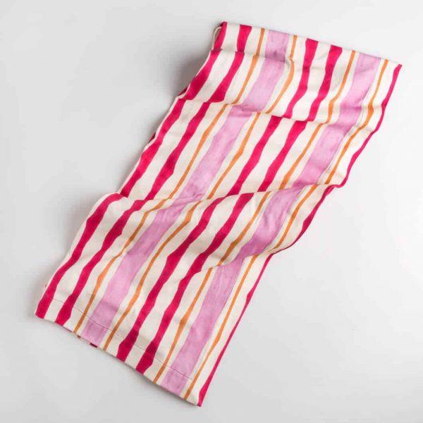 Luxury organic pink and orange mirrored watercolor stripe knit throw