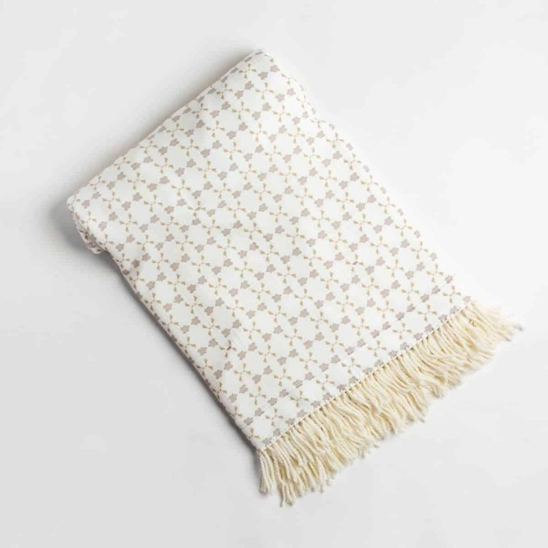 Luxury organic neutral cross stitch geometric pattern plush lined throw with hand knotted fringe