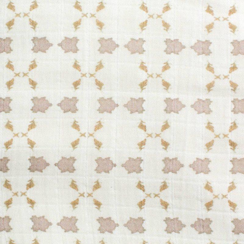 Luxury organic neutral cross stitch geometric pattern plush lined throw pattern detail
