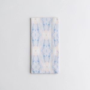 Luxury organic periwinkle blue diamond dinner napkin folded