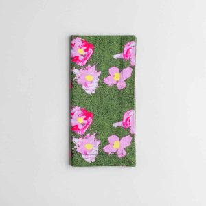 Luxury organic pink and green flower dinner napkin folded