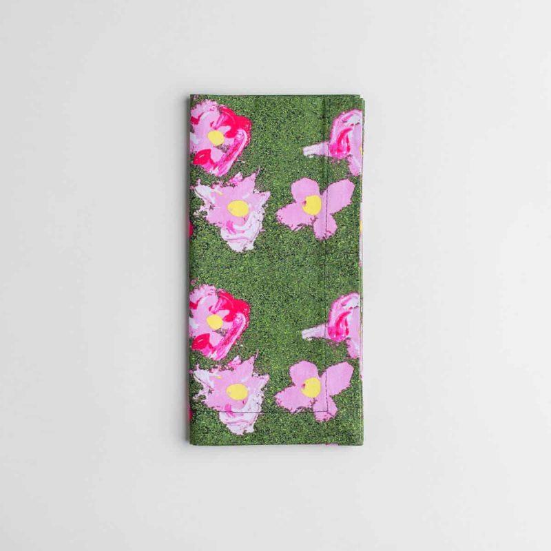 Luxury organic pink and green flower dinner napkin folded