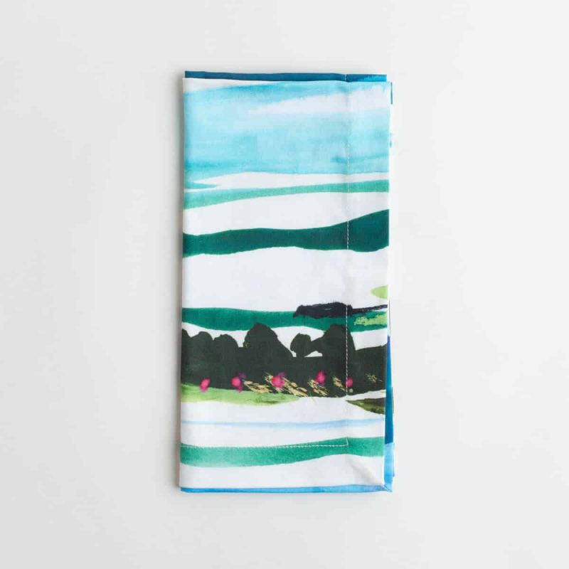 Luxury organic Maine watercolor painting folded dinner napkin