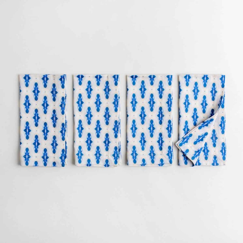 Luxury organic blue mini diamond pattern four folded dinner napkins