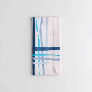 Luxury organic corner placed blue watercolor plaid dinner napkin folded