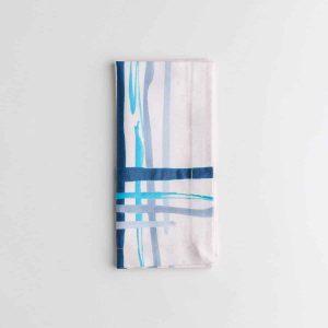 Luxury organic corner placed blue watercolor plaid dinner napkin folded