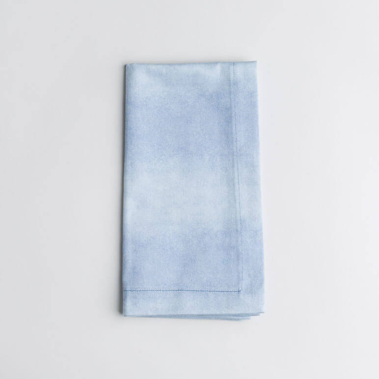 Luxury organic periwinkle blue watercolor wash solid dinner napkin folded