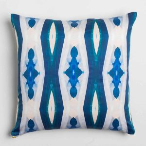 Luxury organic blue ogee diamond pattern square pillow