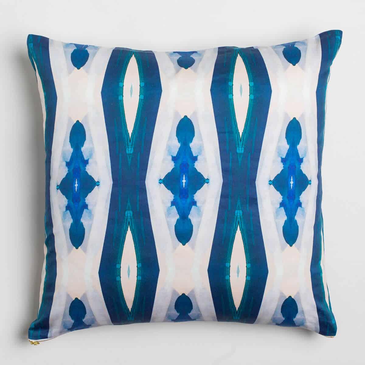 Luxury organic blue ogee diamond pattern square pillow