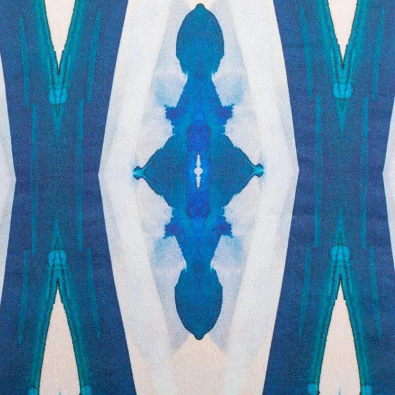 Luxury organic blue ogee diamond pattern square pillow pattern detail