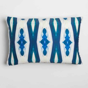 Luxury organic blue ogee diamond pattern oblong lumber pillow