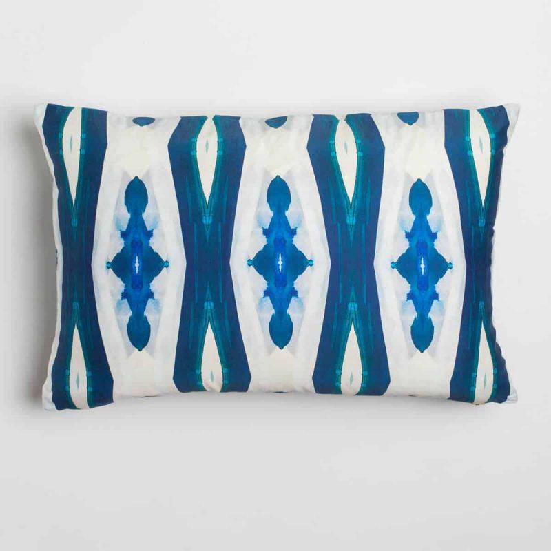 Luxury organic blue ogee diamond pattern oblong lumber pillow
