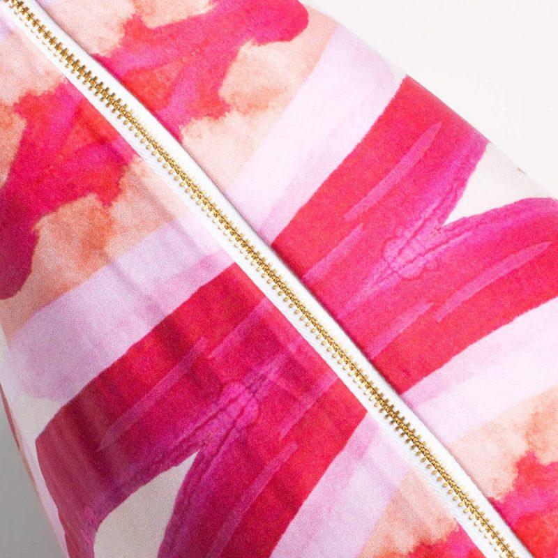 Luxury organic pink ogee diamond pattern square pillow with brass zipper