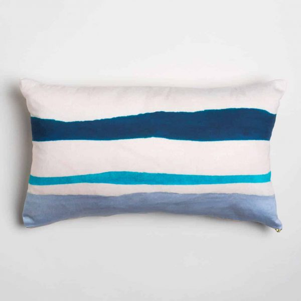 Luxury organic navy and blue watercolor stripe oblong lumber pillow