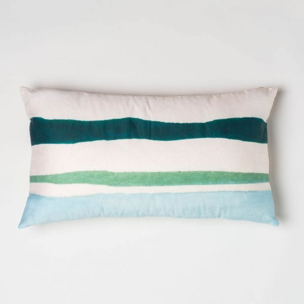 Luxury organic teal and green watercolor stripe oblong lumber pillow