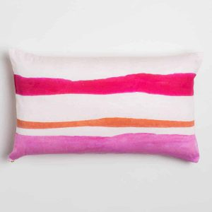 Luxury organic pink and orange watercolor stripe oblong lumber pillow