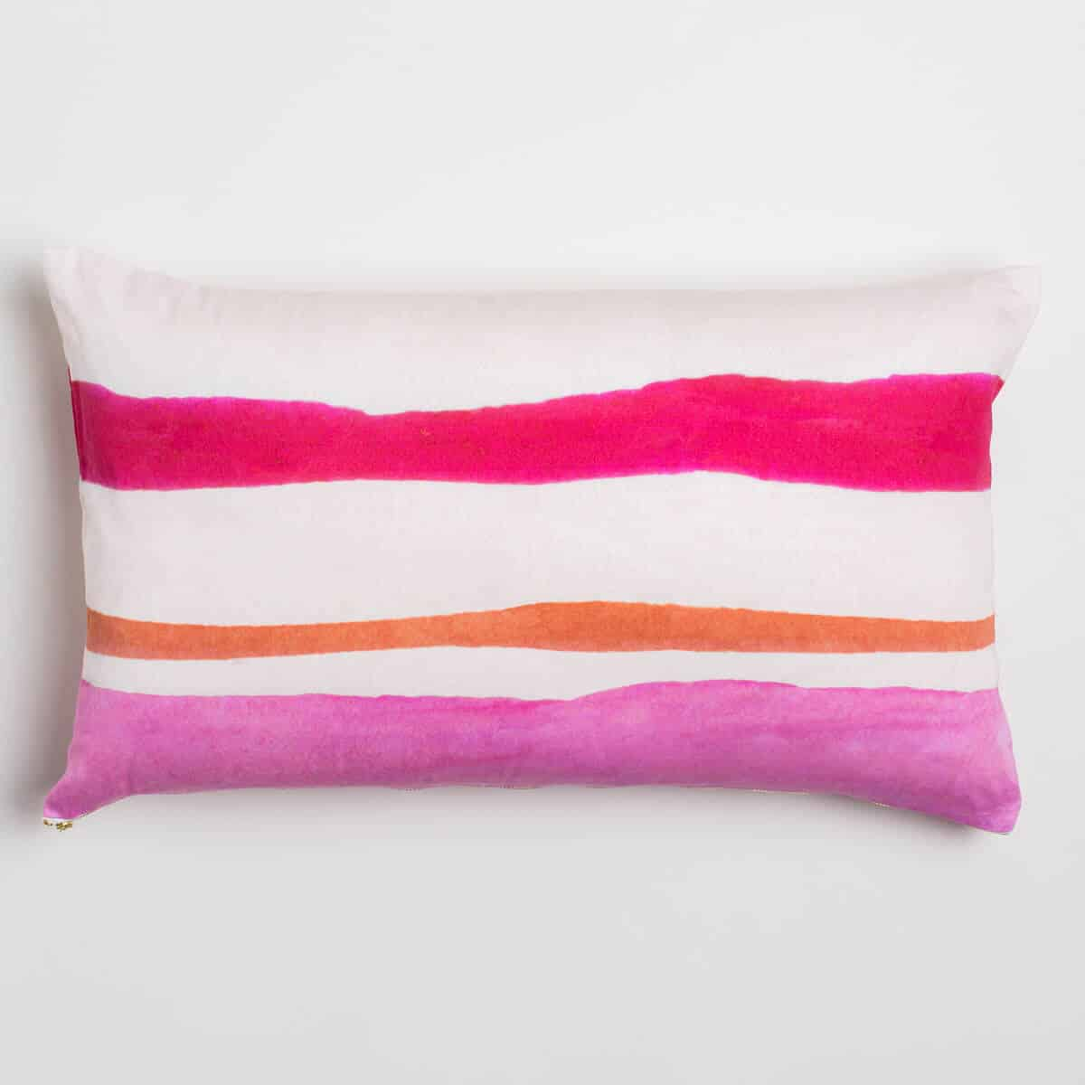 Luxury organic pink and orange watercolor stripe oblong lumber pillow