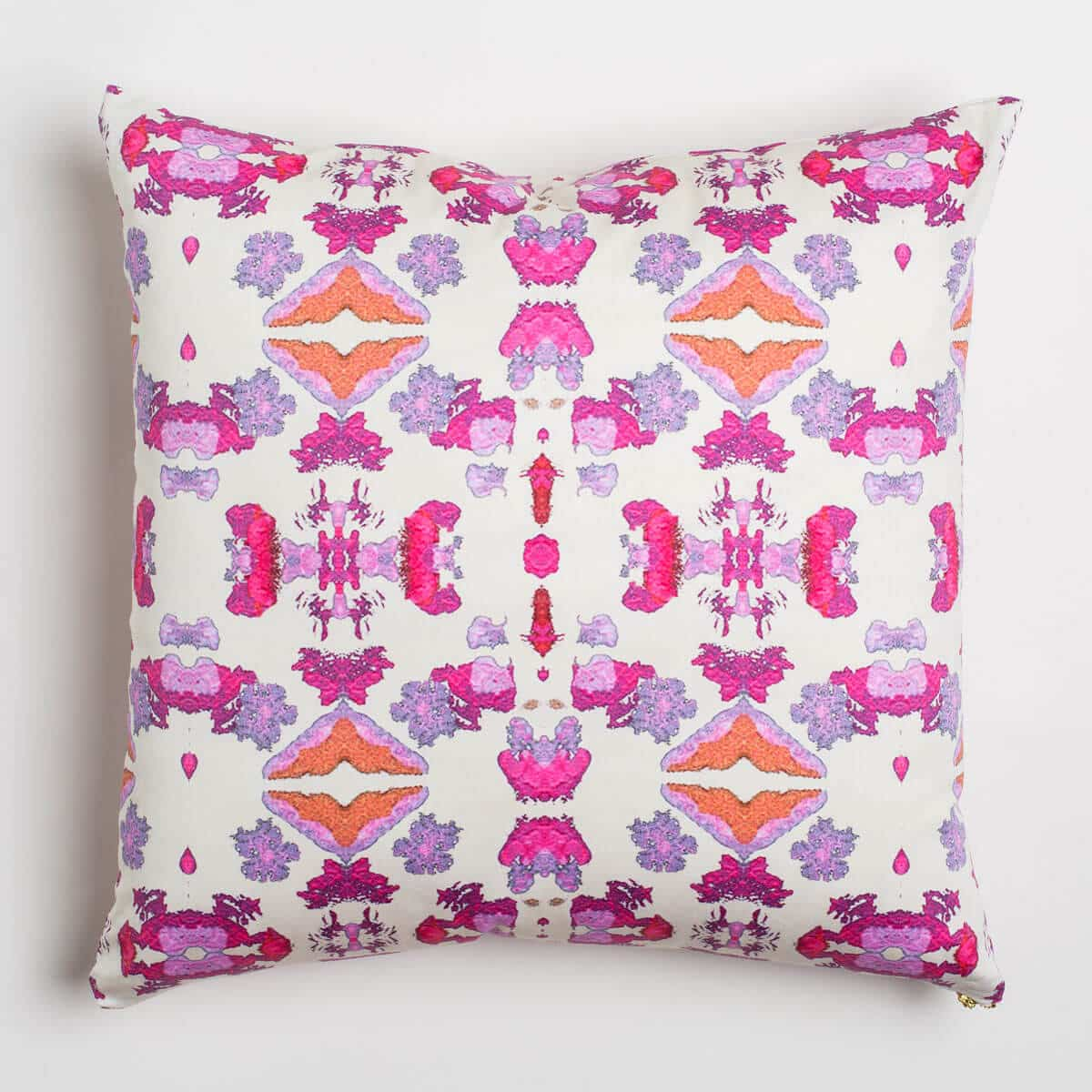 Luxury organic pink abstract tribal pattern square pillow