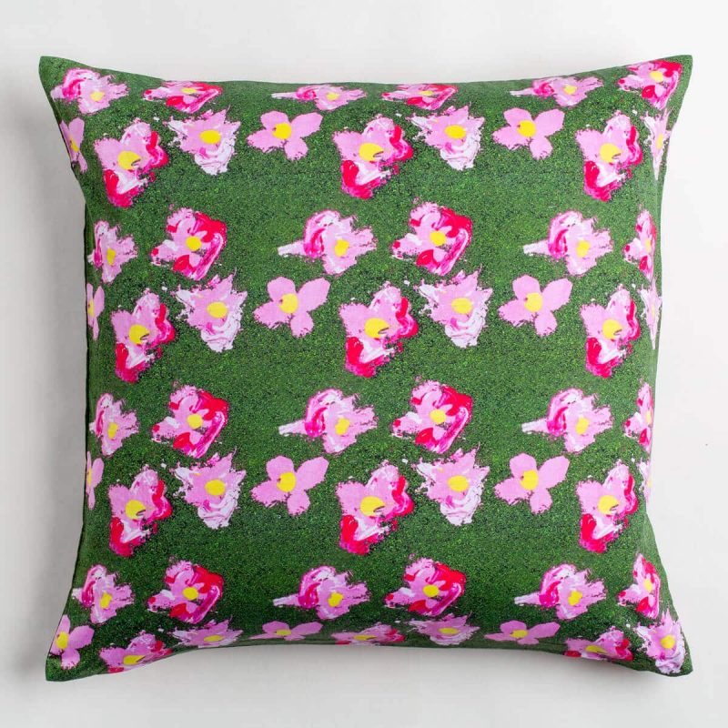 Luxury organic pink and green flower square pillow
