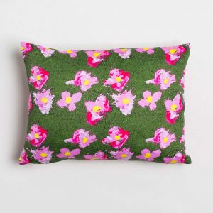 Luxury organic pink and green flower oblong lumber pillow