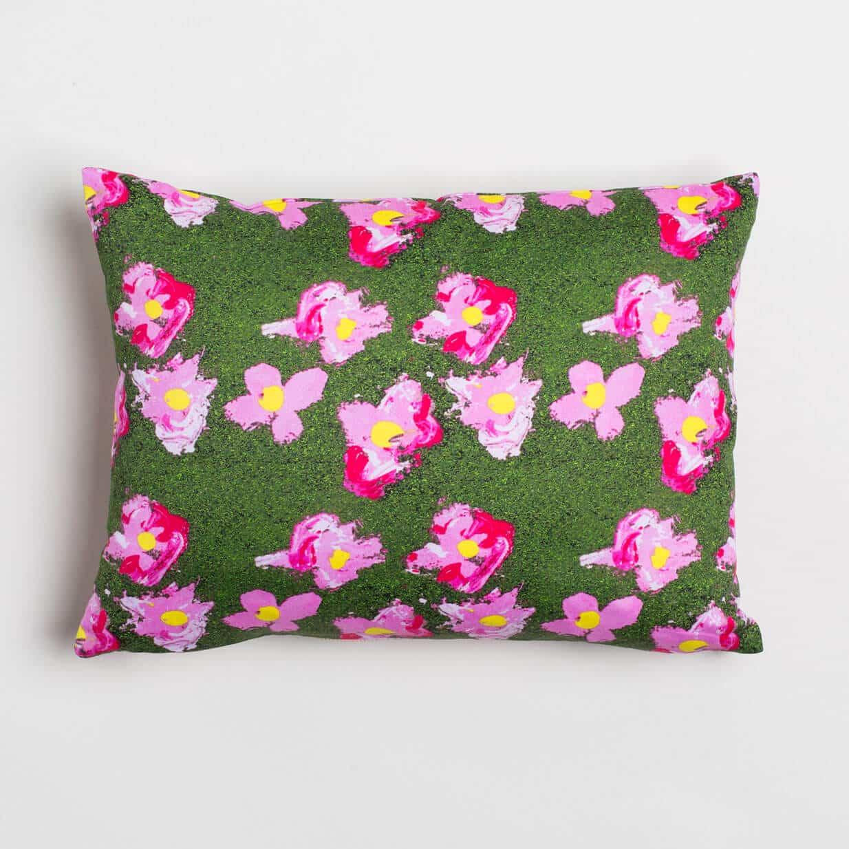 Luxury organic pink and green flower oblong lumber pillow