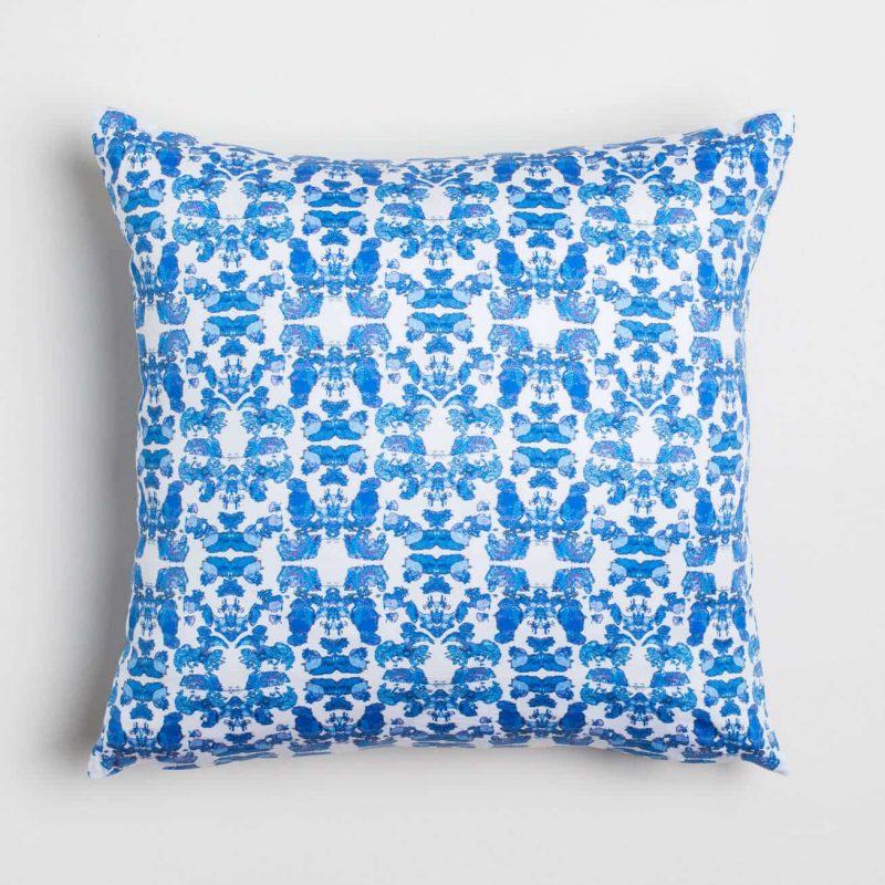 Luxury organic abstract tessellating floral blue square pillow