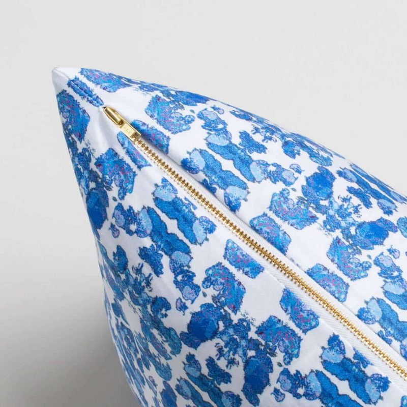 Luxury organic abstract tessellating floral blue square pillow with brass zipper
