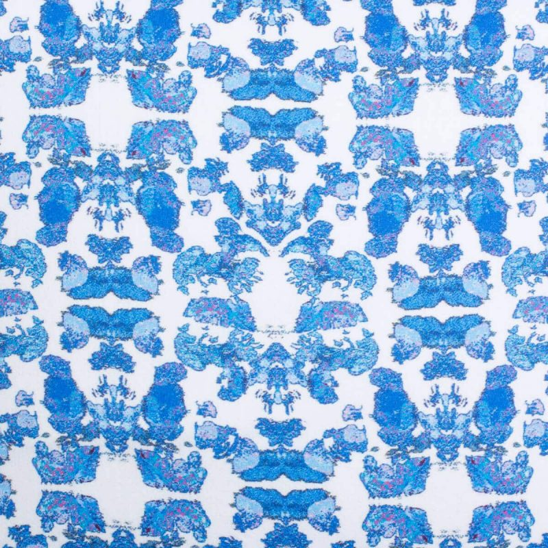 Luxury organic abstract tessellating floral blue square pillow pattern detail