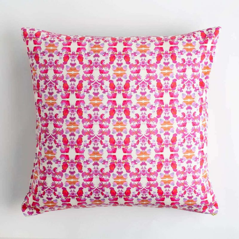 Luxury organic abstract tessellating floral pink square pillow