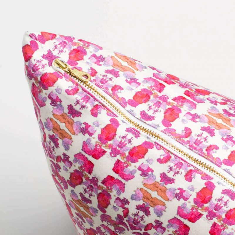 Luxury organic abstract tessellating floral pink square pillow with brass zipper