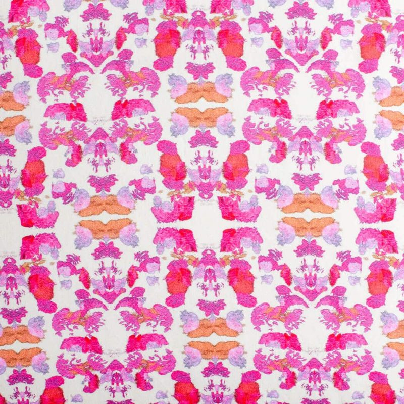 Luxury organic abstract tessellating floral pink square pillow pattern detail