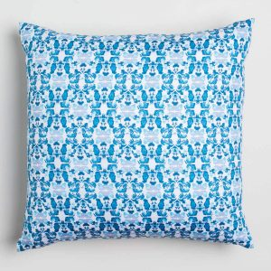 Luxury organic abstract tessellating floral teal square pillow