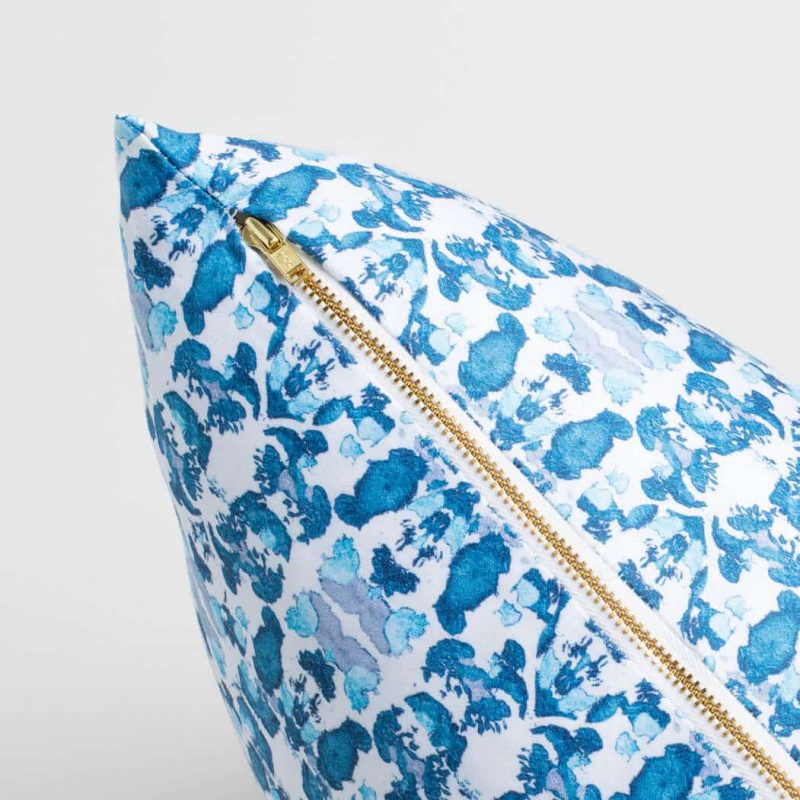 Luxury organic abstract tessellating floral teal square pillow with brass zipper