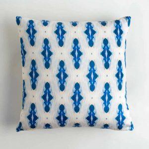 Luxury organic blue diamond square pillow