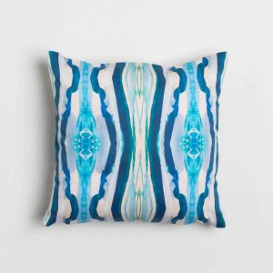 Luxury organic turquoise mirrored diamond square pillow