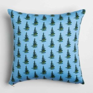 Luxury organic balsam pine tree blue square pillow