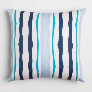 Luxury organic navy and blue mirrored watercolor stripe square pillow