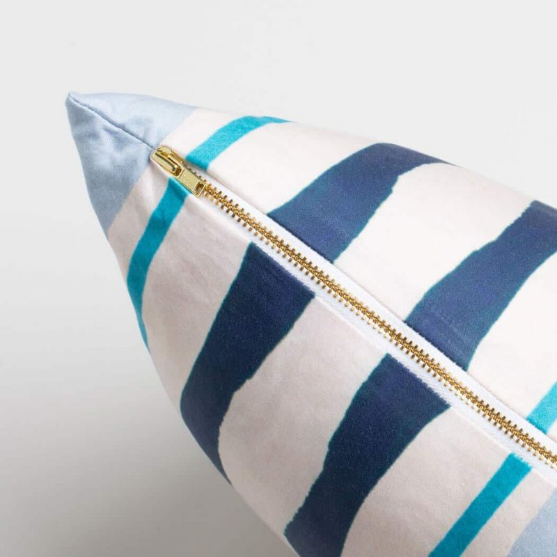 Luxury organic navy and blue mirrored watercolor stripe square pillow with brass zipper