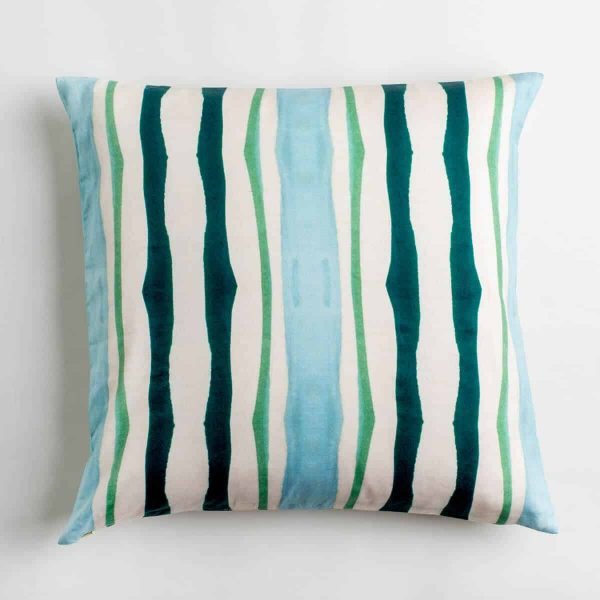 Luxury organic teal and green mirrored watercolor stripe square pillow