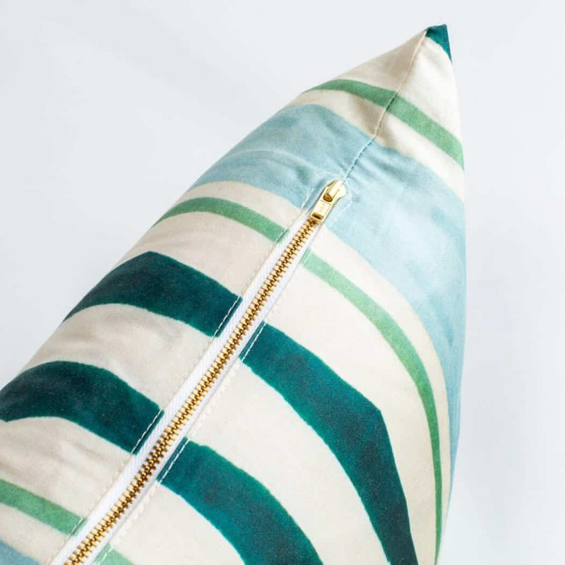 Luxury organic teal and green mirrored watercolor stripe square pillow with brass zipper