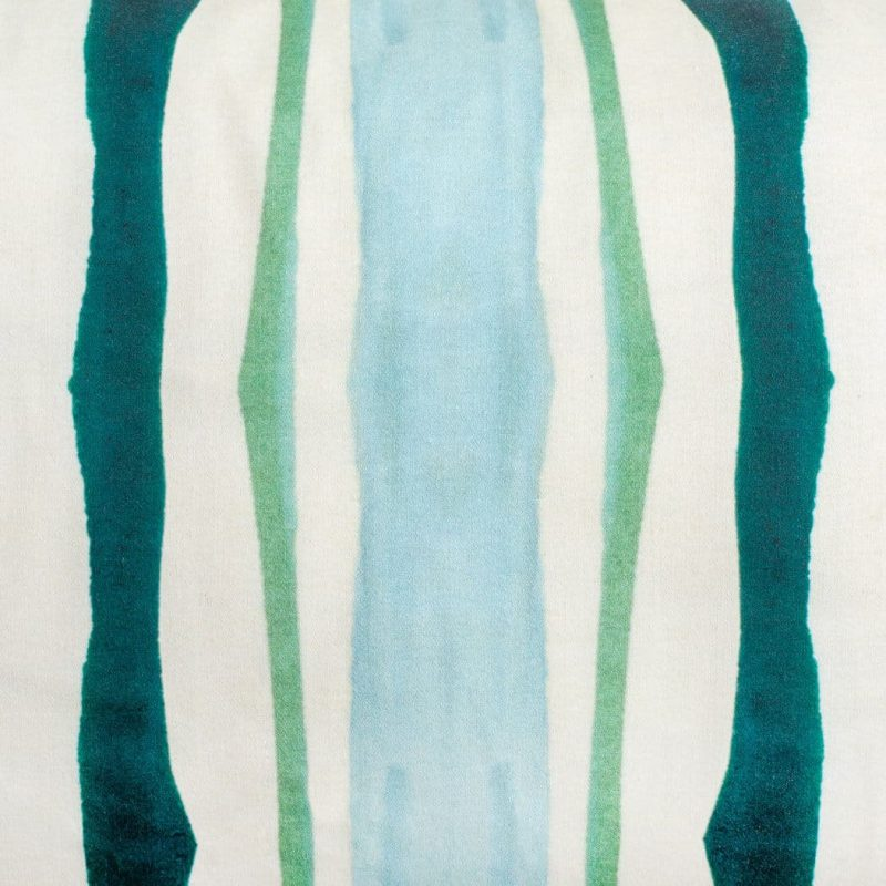 Luxury organic teal and green mirrored watercolor stripe square pillow pattern detail