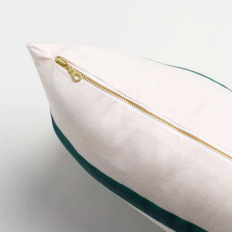 Luxury organic teal and green watercolor stripe oblong lumber pillow with brass zipper