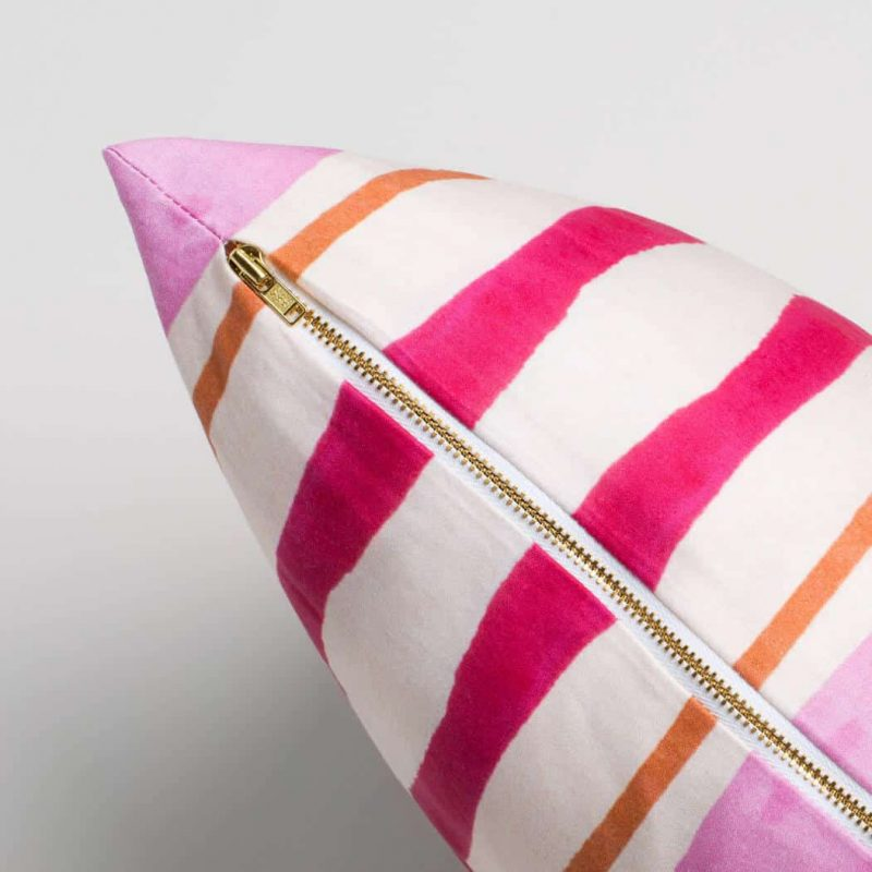Luxury organic pink and orange mirrored watercolor stripe square pillow with brass zipper