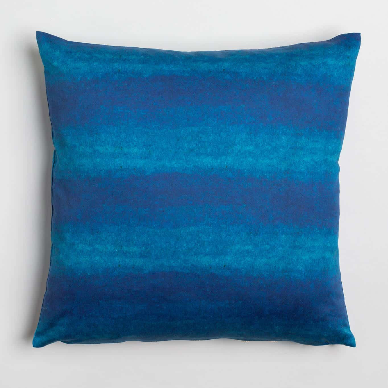 Luxury organic navy blue watercolor wash solid square pillow
