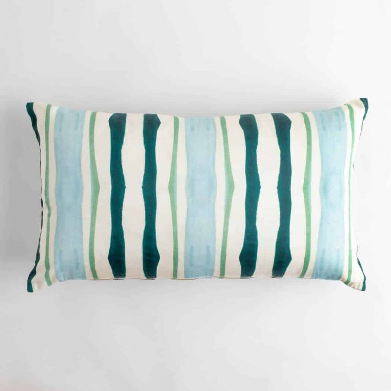 Luxury organic teal and green mirrored watercolor stripe oblong lumber pillow