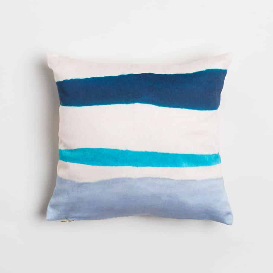 Luxury organic navy and blue watercolor stripe square pillow