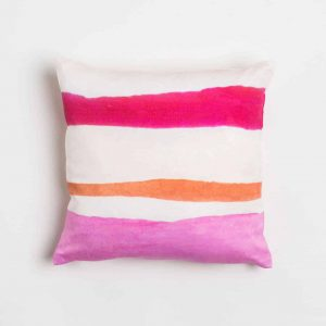 Luxury organic pink and orange watercolor stripe square pillow